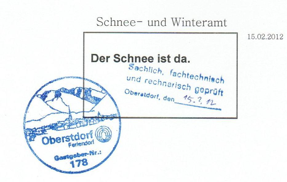 Schneeamt bestätigt Schnee in Oberstdorf Februar 2012